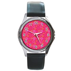 Psychedelic Kaleidoscope Round Leather Watch (silver Rim) by StuffOrSomething