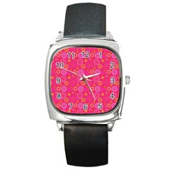Psychedelic Kaleidoscope Square Leather Watch by StuffOrSomething