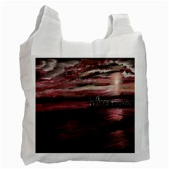 Pier At Midnight White Reusable Bag (one Side) by TonyaButcher