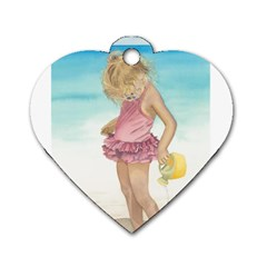 Beach Play Sm Dog Tag Heart (two Sided) by TonyaButcher