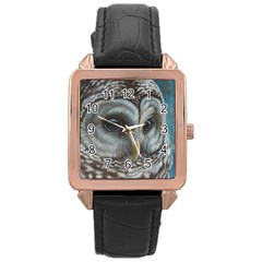 Barred Owl Rose Gold Leather Watch  by TonyaButcher