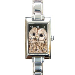 Tawny Owl Rectangular Italian Charm Watch by TonyaButcher
