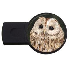 Tawny Owl 2gb Usb Flash Drive (round) by TonyaButcher