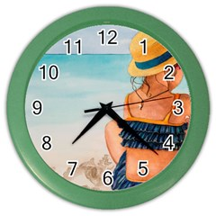 A Day At The Beach Wall Clock (color) by TonyaButcher
