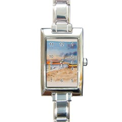 Sunset Beach Watercolor Rectangular Italian Charm Watch by TonyaButcher