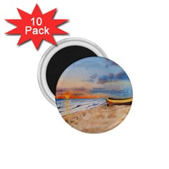 Sunset Beach Watercolor 1 75  Button Magnet (10 Pack) by TonyaButcher