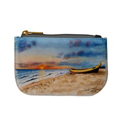 Sunset Beach Watercolor Coin Change Purse