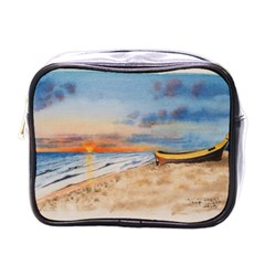 Sunset Beach Watercolor Mini Travel Toiletry Bag (one Side) by TonyaButcher