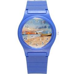 Sunset Beach Watercolor Plastic Sport Watch (small) by TonyaButcher