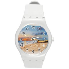 Sunset Beach Watercolor Plastic Sport Watch (medium) by TonyaButcher