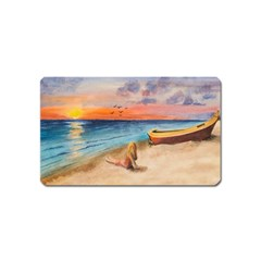 Alone On Sunset Beach Magnet (name Card) by TonyaButcher