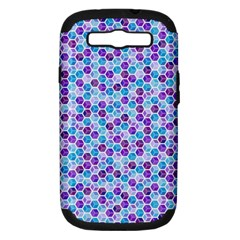 Purple Blue Cubes Samsung Galaxy S Iii Hardshell Case (pc+silicone) by Zandiepants