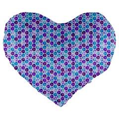 Purple Blue Cubes 19  Premium Heart Shape Cushion by Zandiepants