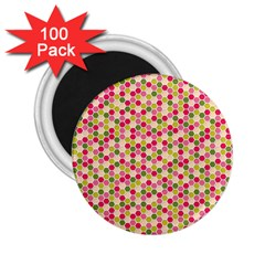 Pink Green Beehive Pattern 2.25  Button Magnet (100 pack) by Zandiepants
