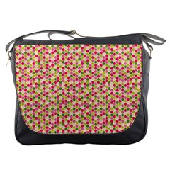 Pink Green Beehive Pattern Messenger Bag by Zandiepants