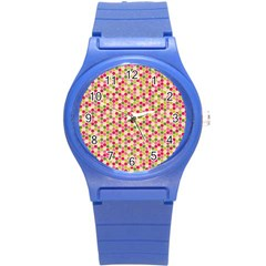 Pink Green Beehive Pattern Plastic Sport Watch (Small) by Zandiepants