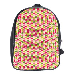 Pink Green Beehive Pattern School Bag (xl) by Zandiepants