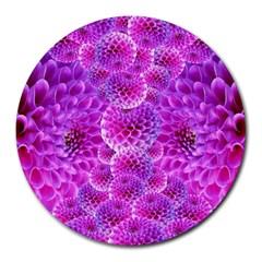 Purple Dahlias 8  Mouse Pad (round) by FunWithFibro