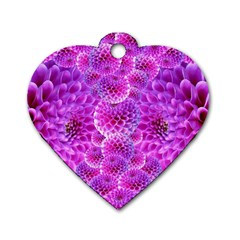 Purple Dahlias Dog Tag Heart (two Sided) by FunWithFibro