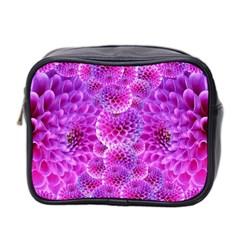 Purple Dahlias Mini Travel Toiletry Bag (two Sides) by FunWithFibro