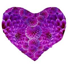 Purple Dahlias 19  Premium Heart Shape Cushion by FunWithFibro