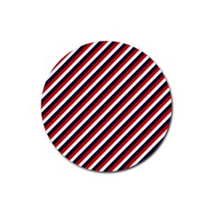 Diagonal Patriot Stripes Drink Coasters 4 Pack (round) by StuffOrSomething