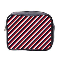 Diagonal Patriot Stripes Mini Travel Toiletry Bag (two Sides) by StuffOrSomething