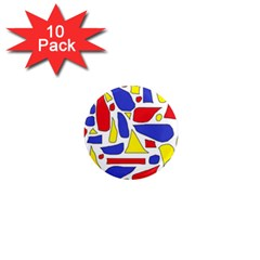 Silly Primaries 1  Mini Button Magnet (10 pack)