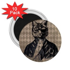 Harlequin Cat 2 25  Button Magnet (10 Pack) by StuffOrSomething