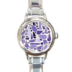 Silly Purples Round Italian Charm Watch by FunWithFibro