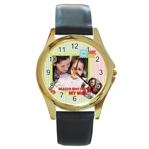 Mothers Day By Mom   Round Gold Metal Watch   Fzcipzbtisom   Www Artscow Com Front