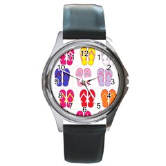 Flip Flop Collage Round Leather Watch (silver Rim) by StuffOrSomething