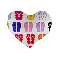 Flip Flop Collage 16  Premium Heart Shape Cushion  by StuffOrSomething