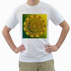 Yellow Green Abstract Wheel Of Fire Men s Two Sided T Shirt (white) by DianeClancy