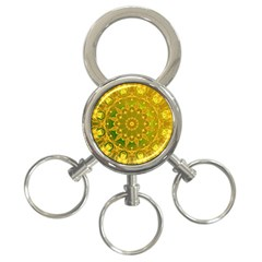 Yellow Green Abstract Wheel Of Fire 3 Ring Key Chain by DianeClancy