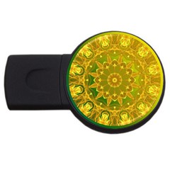 Yellow Green Abstract Wheel Of Fire 1GB USB Flash Drive (Round) by DianeClancy