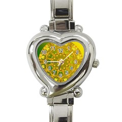Yellow Green Abstract Wheel Of Fire Heart Italian Charm Watch  by DianeClancy