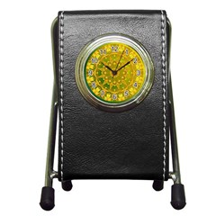 Yellow Green Abstract Wheel Of Fire Stationery Holder Clock by DianeClancy