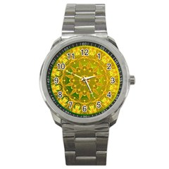Yellow Green Abstract Wheel Of Fire Sport Metal Watch by DianeClancy