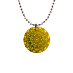 Yellow Green Abstract Wheel Of Fire Button Necklace by DianeClancy