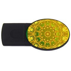 Yellow Green Abstract Wheel Of Fire 4gb Usb Flash Drive (oval) by DianeClancy