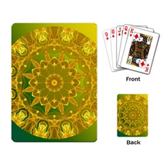 Yellow Green Abstract Wheel Of Fire Playing Cards Single Design by DianeClancy