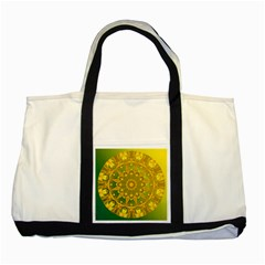 Yellow Green Abstract Wheel Of Fire Two Toned Tote Bag by DianeClancy