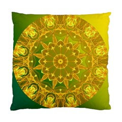 Yellow Green Abstract Wheel Of Fire Cushion Case (two Sided)  by DianeClancy