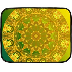 Yellow Green Abstract Wheel Of Fire Mini Fleece Blanket (two Sided) by DianeClancy