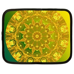 Yellow Green Abstract Wheel Of Fire Netbook Sleeve (xl) by DianeClancy