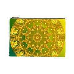 Yellow Green Abstract Wheel Of Fire Cosmetic Bag (large) by DianeClancy