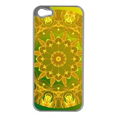 Yellow Green Abstract Wheel Of Fire Apple Iphone 5 Case (silver) by DianeClancy