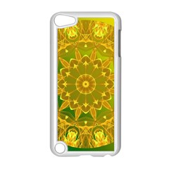 Yellow Green Abstract Wheel Of Fire Apple Ipod Touch 5 Case (white) by DianeClancy