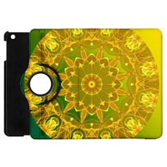 Yellow Green Abstract Wheel Of Fire Apple Ipad Mini Flip 360 Case by DianeClancy